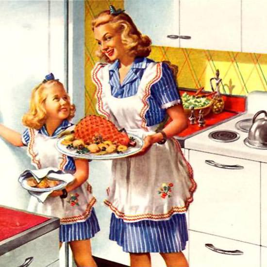 Retro Woman In Kitchen: Detail Of General Electric Ranges Speed Cooking 1945