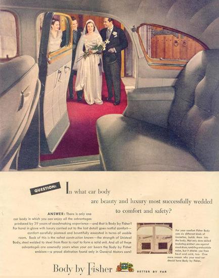 Fisher Body On GM Cars Wedding 1948 | Mad Men Art | Vintage Ad Art
