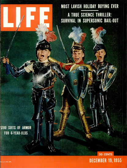 100 Dollar Suits of Armor for Kids 19 Dec 1955 Copyright Life Magazine   Life Magazine Color Photo Covers 1937-1970