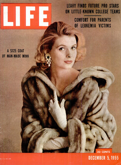 125 Dollar Coat of man-made Mink 5 Dec 1955 Copyright Life Magazine | Life Magazine Color Photo Covers 1937-1970