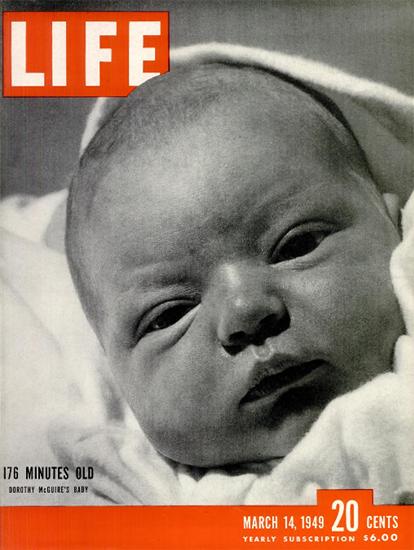 176 Minutes old 14 Mar 1949 Copyright Life Magazine | Life Magazine BW Photo Covers 1936-1970