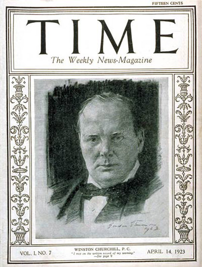 1923-04 Winston Churchill Copyright Time Magazine | Time Magazine Covers 1923-1970
