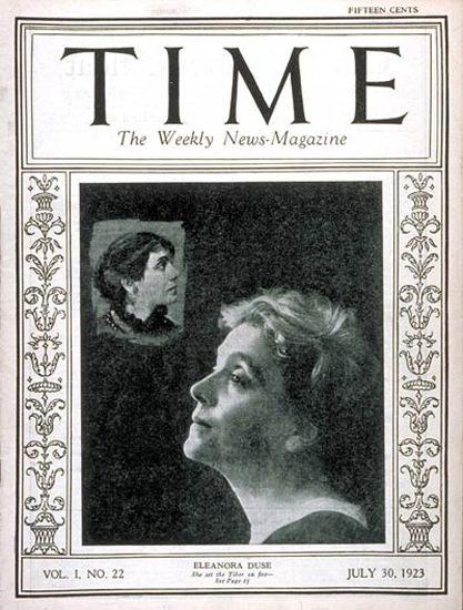 1923-07 Eleanora Duse Copyright Time Magazine | Time Magazine Covers 1923-1970