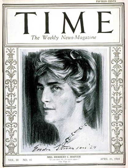 1924-04 Mrs Herbert Hoover Copyright Time Magazine | Time Magazine Covers 1923-1970