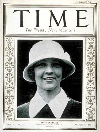 1924-08 Edith Cummings Copyright Time Magazine | Time Magazine Covers 1923-1970
