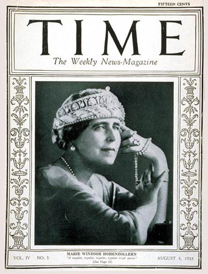 1924-08 Queen Marie Copyright Time Magazine | Time Magazine Covers 1923-1970