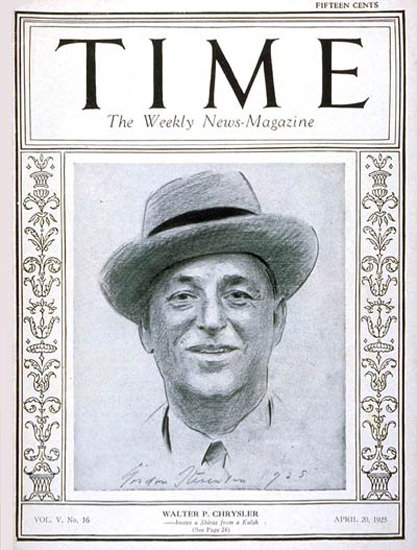 1925-04 Walter P Chrysler Copyright Time Magazine | Time Magazine Covers 1923-1970