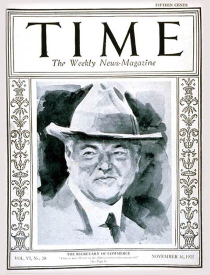 1925-11 Herbert Hoover Copyright Time Magazine | Time Magazine Covers 1923-1970