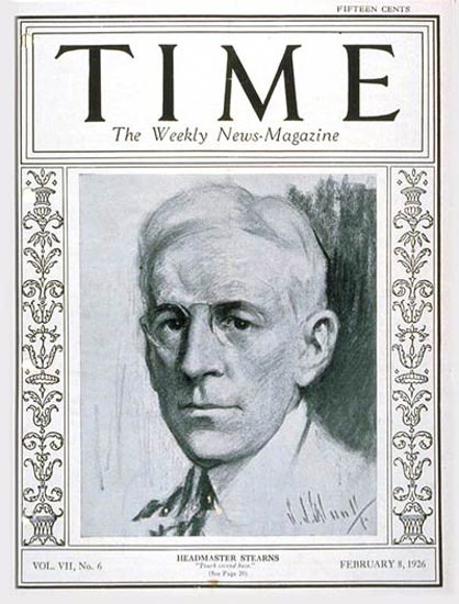 1926-02 Alfred E Stearns Copyright Time Magazine | Time Magazine Covers 1923-1970