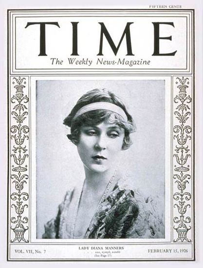 1926-02 Lady Diana Copyright Time Magazine | Time Magazine Covers 1923-1970