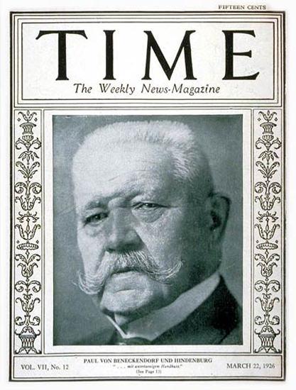 1926-03 Paul Von Hindenburg Copyright Time Magazine | Time Magazine Covers 1923-1970