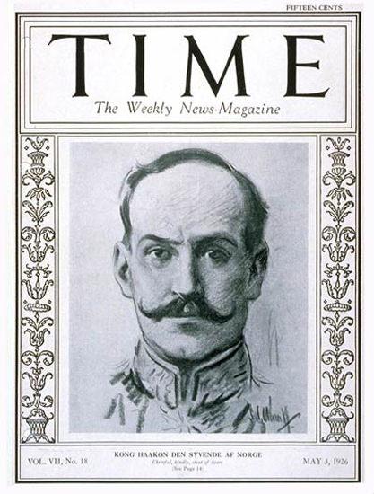 1926-05 King Haakon VII Copyright Time Magazine | Time Magazine Covers 1923-1970