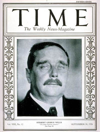1926-09 H G Wells Copyright Time Magazine | Time Magazine Covers 1923-1970