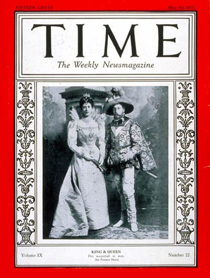 1927-05 King George V Queen Mary Copyright Time Magazine | Time Magazine Covers 1923-1970