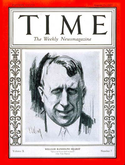 1927-08 William Randolph Hearst Copyright Time Magazine | Time Magazine Covers 1923-1970