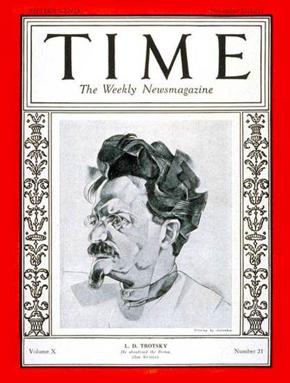 1927-11 Leon D Trotsky Copyright Time Magazine | Time Magazine Covers 1923-1970
