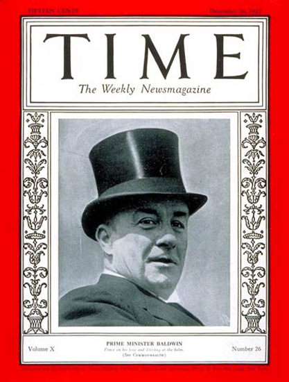 1927-12 Stanley Baldwin Copyright Time Magazine | Time Magazine Covers 1923-1970