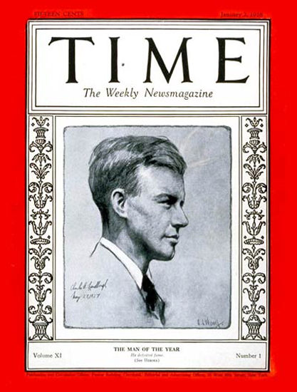 1928-01 Charles Lindbergh Copyright Time Magazine | Time Magazine Covers 1923-1970