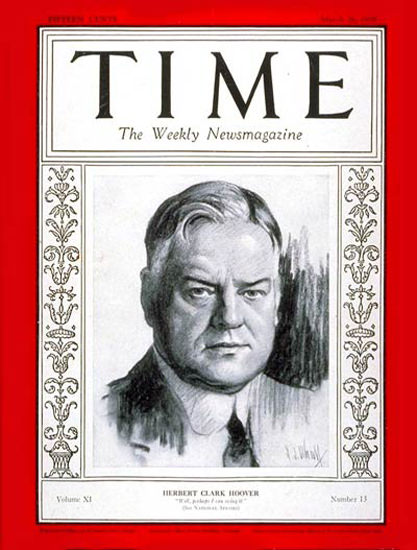 1928-03 Herbert C Hoover Copyright Time Magazine | Time Magazine Covers 1923-1970