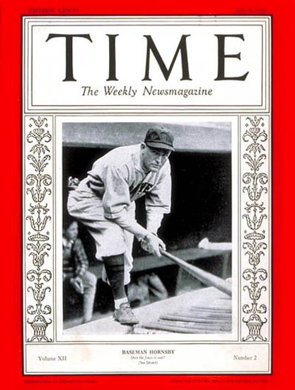 1928-07 Rogers Hornsby Baseball Copyright Time Magazine | Time Magazine Covers 1923-1970