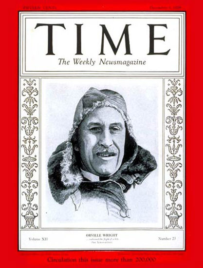 1928-12 Orville Wright Copyright Time Magazine | Time Magazine Covers 1923-1970
