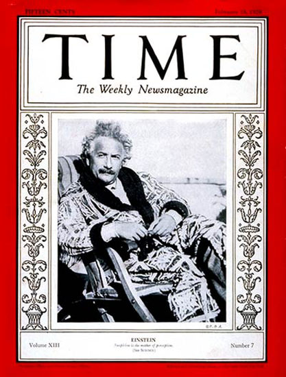 1929-02 Albert Einstein Copyright Time Magazine | Time Magazine Covers 1923-1970