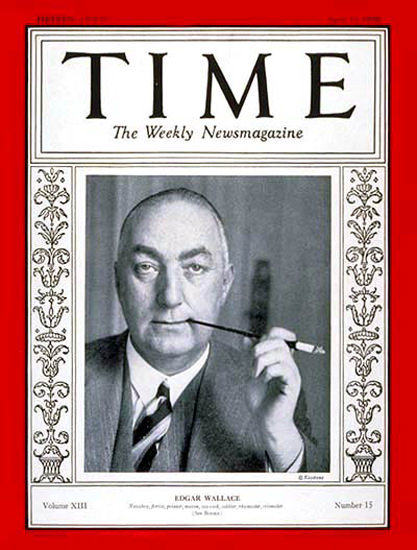 1929-04 Edgar Wallace Copyright Time Magazine | Time Magazine Covers 1923-1970