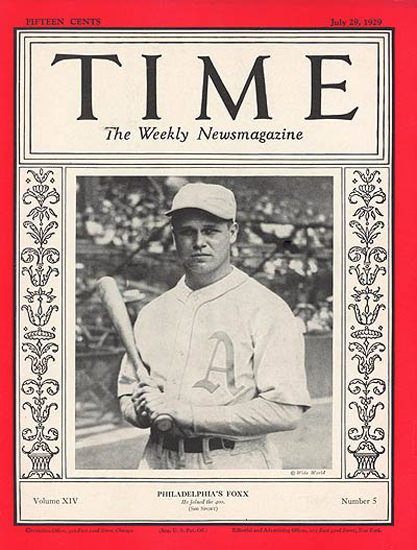 1929-07 Jimmie Foxx Baseball Copyright Time Magazine | Time Magazine Covers 1923-1970