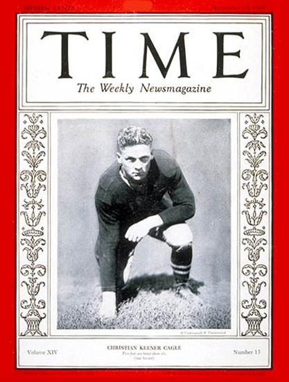 1929-09 Christian K Cagle Football Copyright Time Magazine | Time Magazine Covers 1923-1970