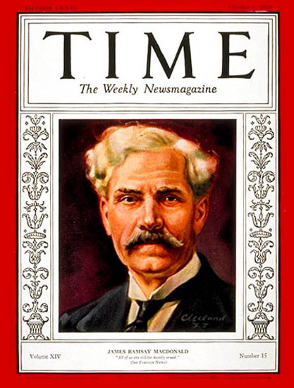 1929-10 Ramsay MacDonald Copyright Time Magazine | Time Magazine Covers 1923-1970