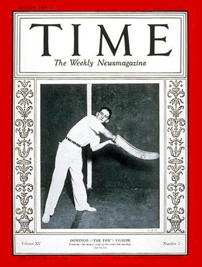 1930-01 Domingo Ugalde Copyright Time Magazine | Time Magazine Covers 1923-1970