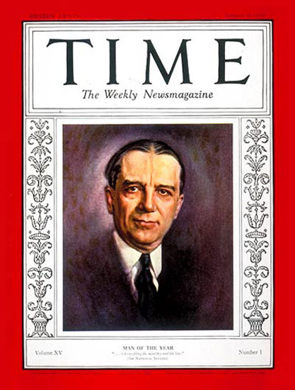 1930-01 Owen D Young Copyright Time Magazine | Time Magazine Covers 1923-1970