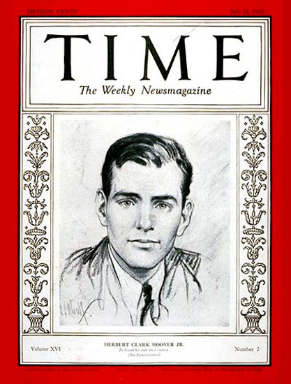 1930-07 Herbert Hoover Jr Copyright Time Magazine | Time Magazine Covers 1923-1970