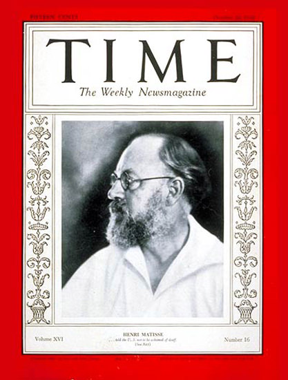1930-10 Henri Matisse Copyright Time Magazine | Time Magazine Covers 1923-1970