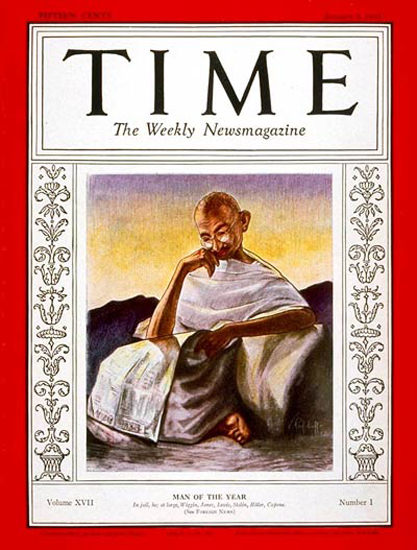 1931-01 Mahatma Gandhi Copyright Time Magazine | Time Magazine Covers 1923-1970