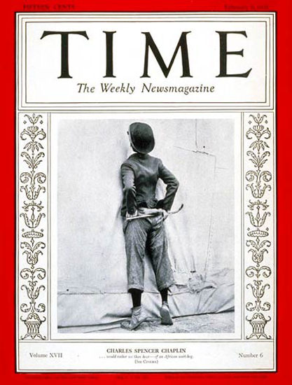 1931-02 Charlie Chaplin Copyright Time Magazine | Time Magazine Covers 1923-1970