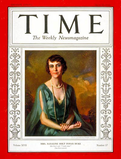 1931-04 Mrs Nanaline Duke Copyright Time Magazine | Time Magazine Covers 1923-1970