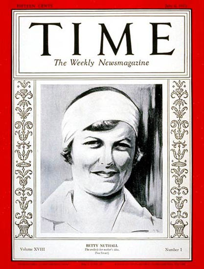 1931-07 Betty Nuthall Copyright Time Magazine | Time Magazine Covers 1923-1970