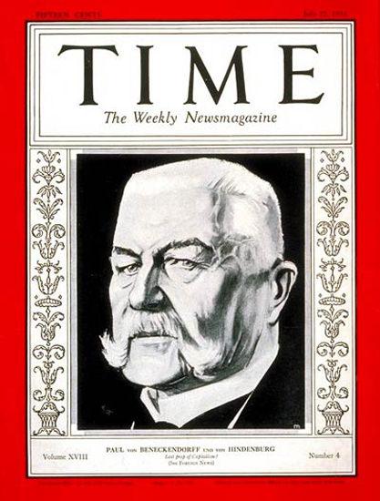 1931-07 Paul Von Hindenburg Copyright Time Magazine | Time Magazine Covers 1923-1970