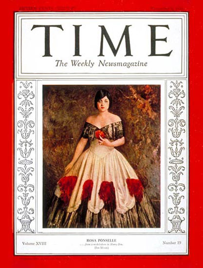 1931-11 Rosa Ponselle Copyright Time Magazine | Time Magazine Covers 1923-1970