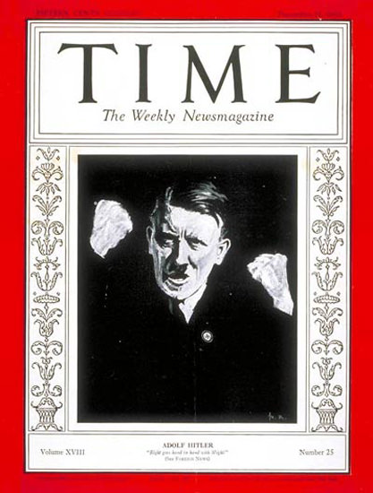 1931-12 Adolf Hitler Copyright Time Magazine | Time Magazine Covers 1923-1970