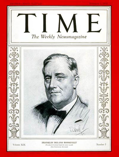 1932-02 Franklin D Roosevelt Copyright Time Magazine | Time Magazine Covers 1923-1970