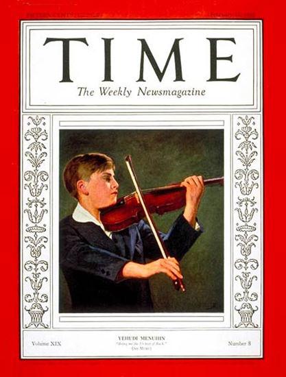 1932-02 Yehudi Menuhin Copyright Time Magazine | Time Magazine Covers 1923-1970