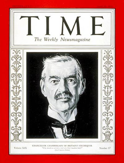 1932-04 Neville Chamberlain Copyright Time Magazine | Time Magazine Covers 1923-1970