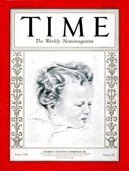 1932-05 Charles A Lindbergh Jr Copyright Time Magazine | Time Magazine Covers 1923-1970