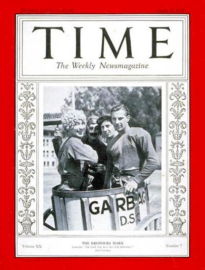 1932-08 Groucho Harpo Chico Zeppo Marx Copyright Time Magazine | Time Magazine Covers 1923-1970