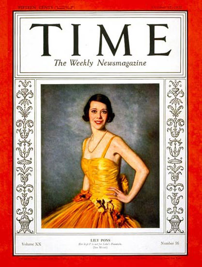 1932-10 Lily Pons Copyright Time Magazine | Time Magazine Covers 1923-1970