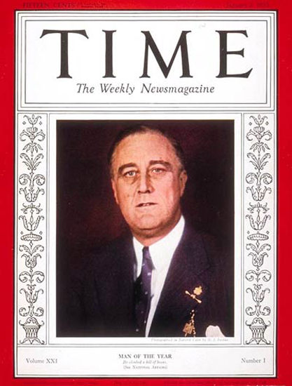 1933-01 Franklin D Roosevelt Copyright Time Magazine | Time Magazine Covers 1923-1970