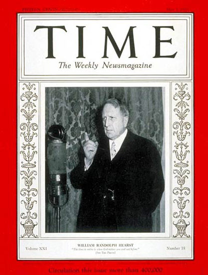 1933-05 William R Hearst Copyright Time Magazine | Time Magazine Covers 1923-1970