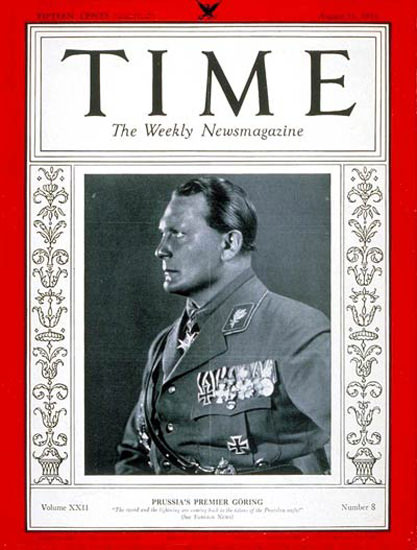 1933-08 Hermann Goering Copyright Time Magazine | Time Magazine Covers 1923-1970